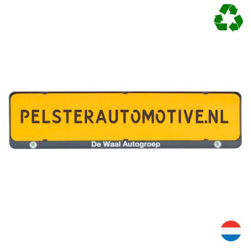 Kentekenplaathouder met tekstrand van Pelster automotive