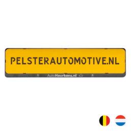 kentekenplaathouder met tekst serie 2 goedkopere variant van pelster automotive