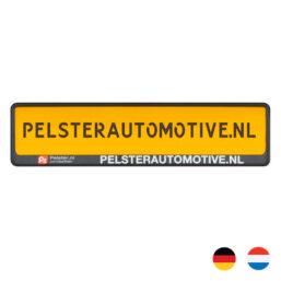 PP Kentekenplaathouder met PS strip als promotiemateriaal van pelster automotive
