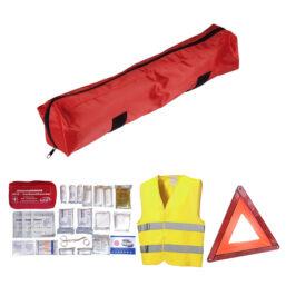 calimiteitenpakket voor een veilige reis in de auto 3-delig verpakt inclusief gecertificeerde EHBO-set, reflectievest en gevarendriehoek van pelster automotive