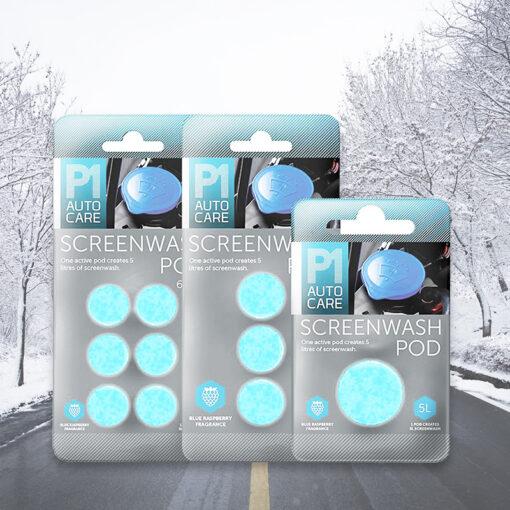 ruitenwisservloeistof tabletten in sfeerafbeelding met sneeuw van pelster automotive