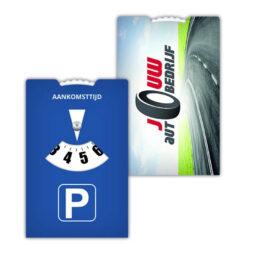 parkeerschijf in de vorm van visitekaartje