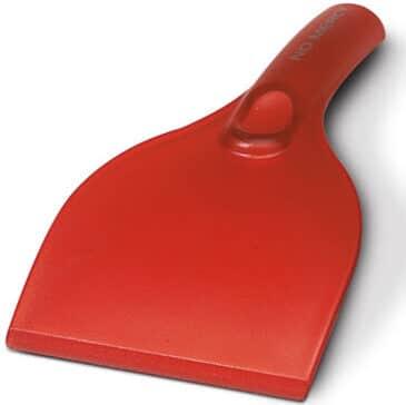 Rode ijskrabber met handvat met bedrukking | Pelster Automotive