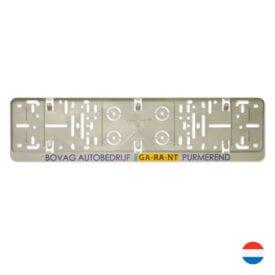 Grijze kentekenplaathouder serie 1 met tekstrand | Pelster Automotive