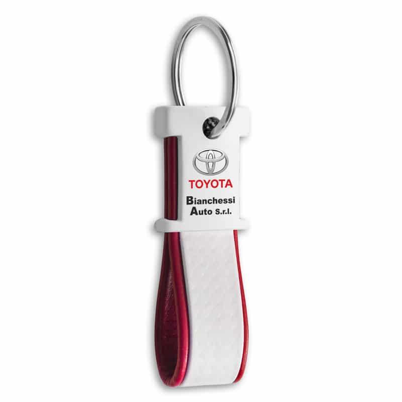 Unieke sleutelhanger wit Kybon met full-color bedrukking | Pelster Automotive