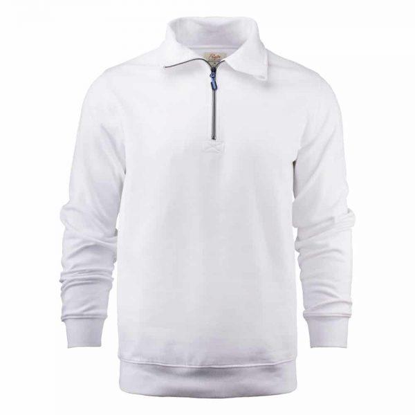 Witte zip sweater met logo bedrukken | Pelster Automotive