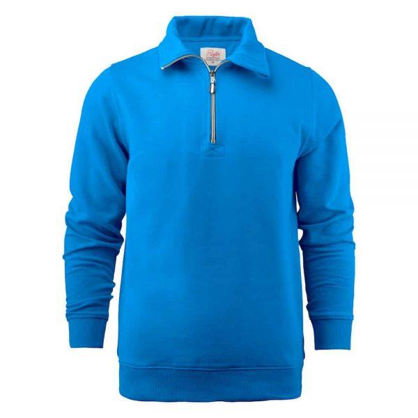 Blauwe zip sweater met logo bedrukken | Pelster Automotive