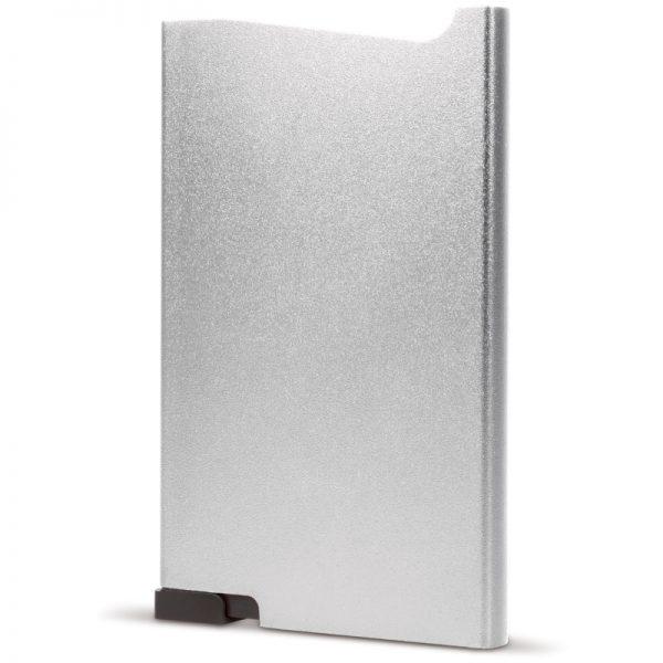 Zilveren aluminium creditcardhouder met gravering   Pelster Automotive