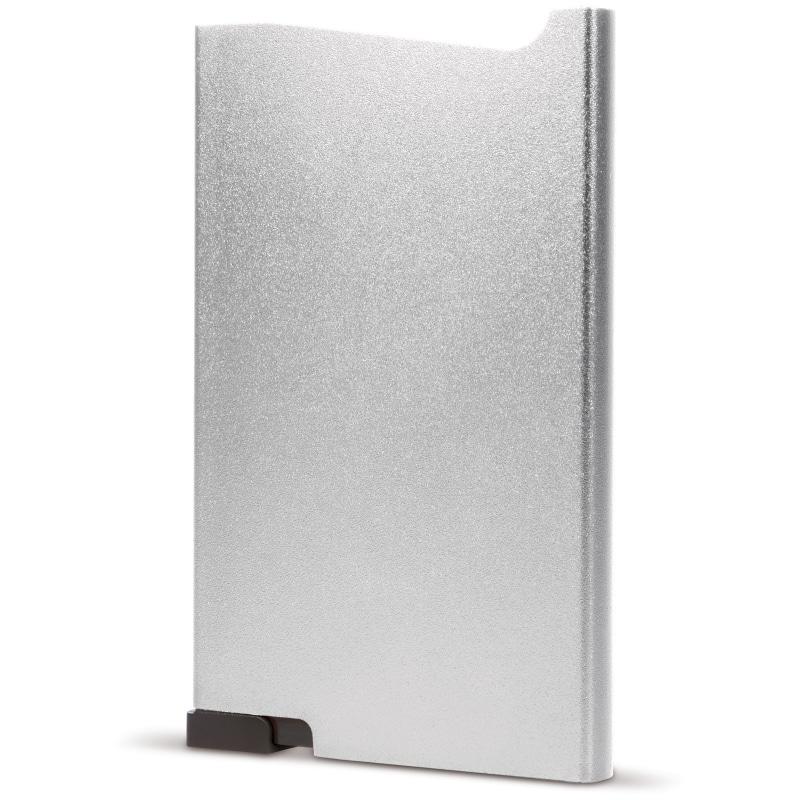 Zilveren aluminium creditcardhouder met gravering | Pelster Automotive