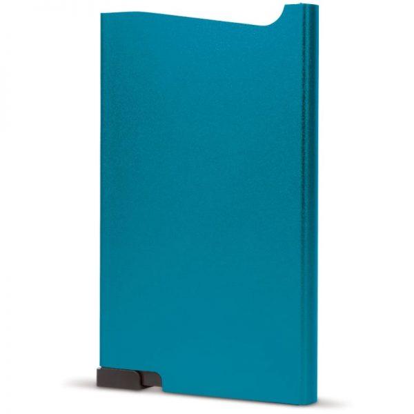 Blauwe aluminium creditcardhouder met gravering   Pelster Automotive