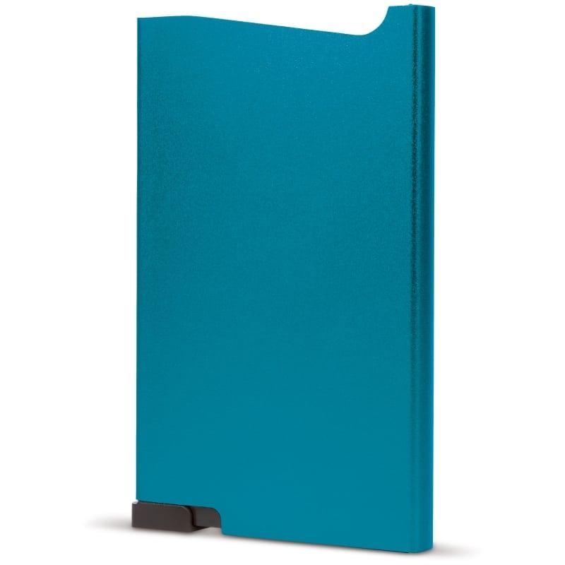 Blauwe aluminium creditcardhouder met gravering | Pelster Automotive