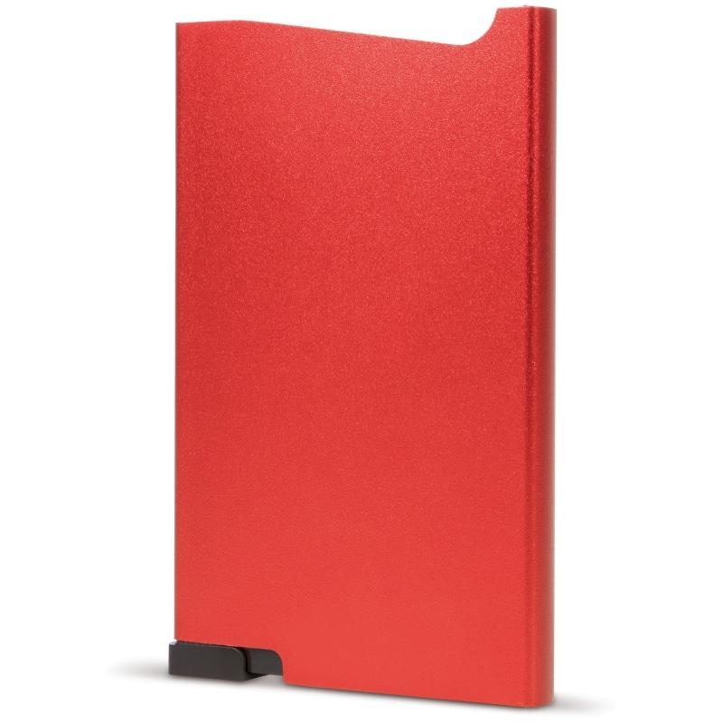Rode aluminium creditcardhouder met gravering | Pelster Automotive