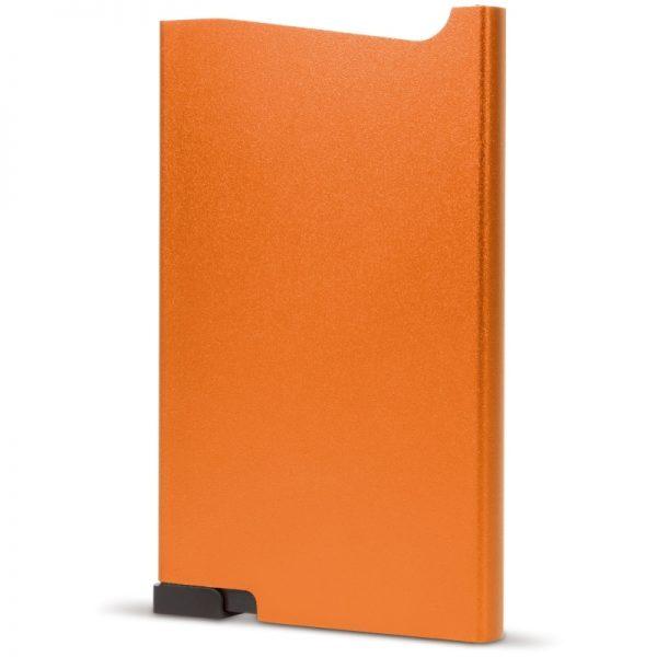 Oranje aluminium creditcardhouder met gravering   Pelster Automotive