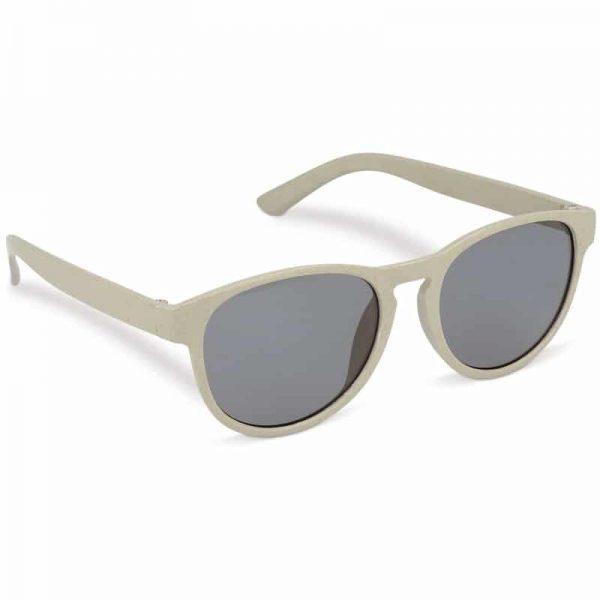 Beige duurzame zonnebril van tarwestro met logo   Pelster Automotive