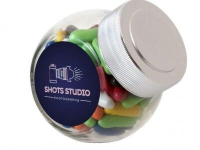 Mini glazen snoeppot met sticker met bedrukking | Pelster Automotive